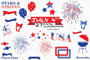 July 4th - USA Patriotic Cliparts