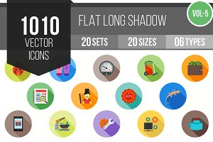 1010 Flat Shadowed Icons (V5)