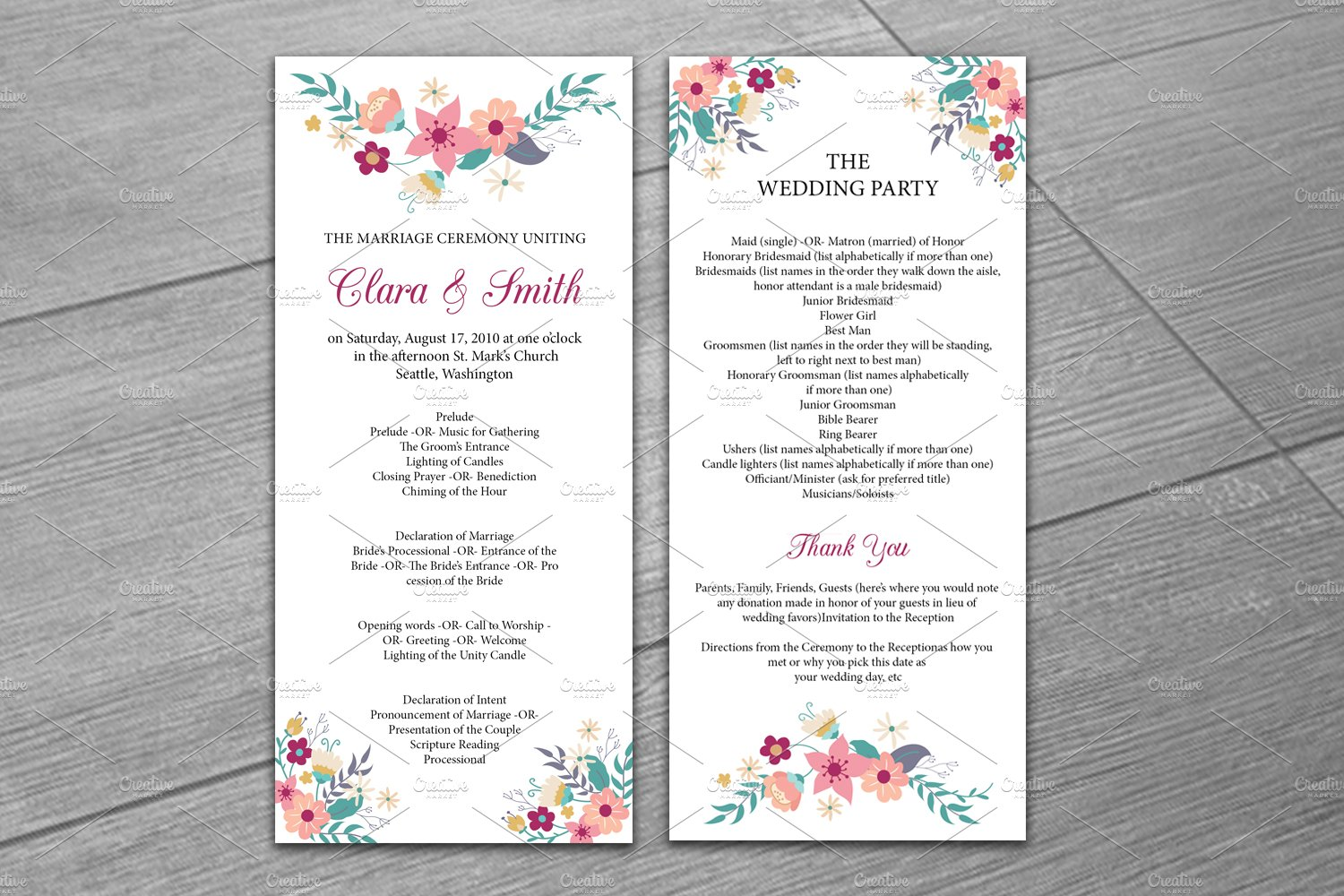 Wedding Program Template Invitation Templates Creative Market - Wedding invitation templates: wedding program template word