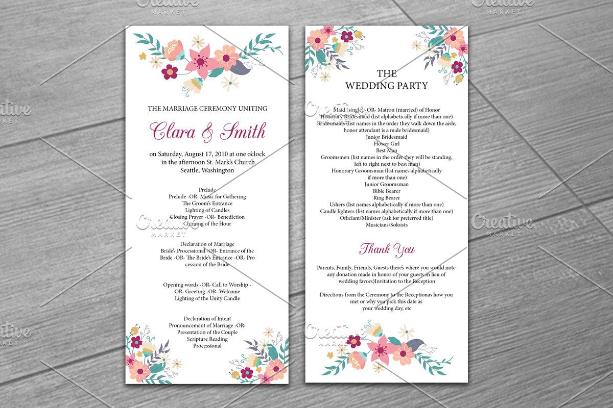 Wedding Program Template Wedding Templates Creative Market