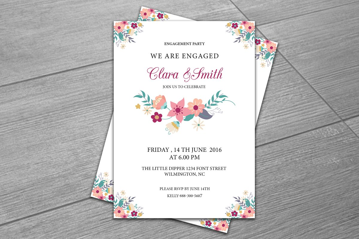 Engagement Party Invitation Template ~ Wedding Templates ...