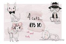 4 cute doodle cats