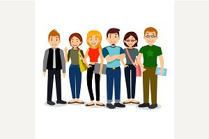 Cartoon illustration of students.