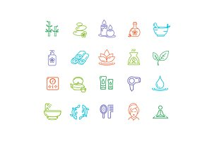 Spa Outline Color Icon Set.