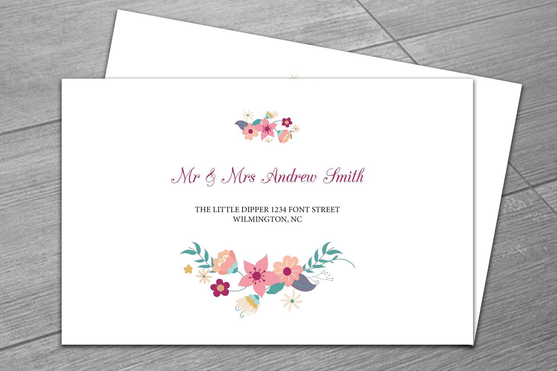 wedding envelope template invitation templates creative market. Black Bedroom Furniture Sets. Home Design Ideas