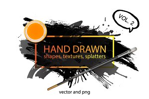 Hand drawn shapes, splatters. Part 2