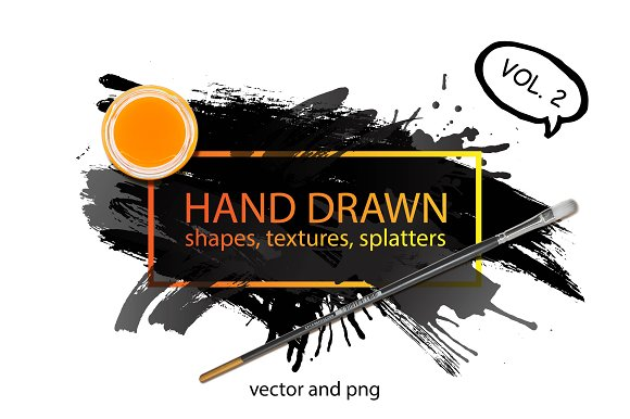 Hand drawn shapes, splatters. Part 2 - Textures