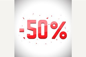 Fifty percent sale off.