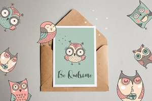 Cute hand drawn owl illustrations