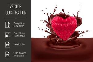 Raspberry heart with chocolate