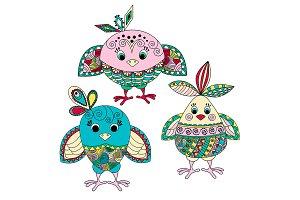 Three cute little birds