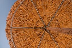 Looking inside of a bamboo umbrella