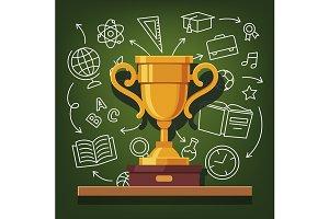 Education success golden cup