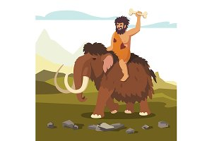 Stone age man riding mammoth