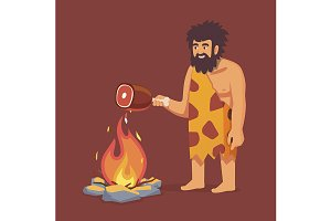 Stone age man cooking meat