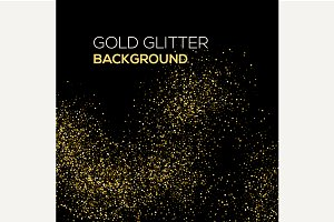 Gold confetti glitter on black
