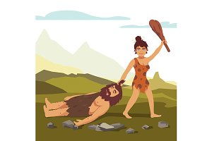 Stone age woman drawing bearded man