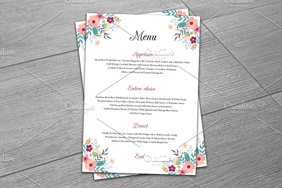 wedding menu template stationery templates creative market