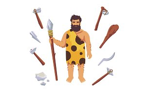 Stone age man with wooden tools