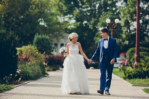 Beautiful wedding couple walkin