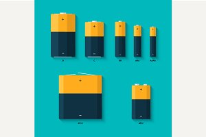Set of batteries of different sizes
