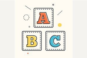 ABC blocks flat icon