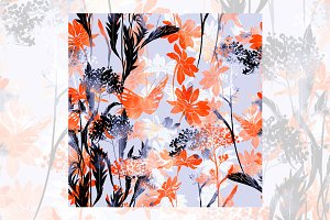 flowers and herbs. seamless pattern
