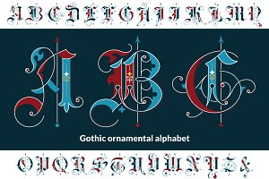 Gothic ornamental alphabet