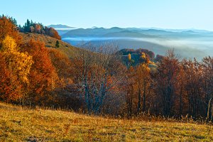 Morning fog in autumn Carpathian.