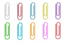 Colorful paper clips set.