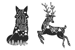 Deer and Fox typography set