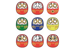 Set of japanese daruma dolls. vector