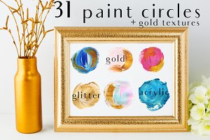 acrylic circles+gold glitter PNG