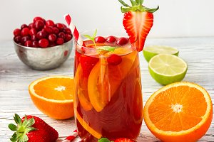 Juicy sangria summer drink