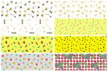 Swatches of retro memphis patterns.