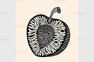 fruit with abstract pattern