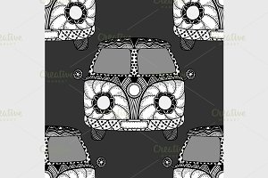 Seamless Pattern of Vintage car