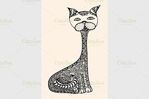 doodle outline vector cat