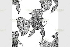 Seamless background of abstract fish