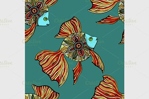 Vector seamless pattern with fishes