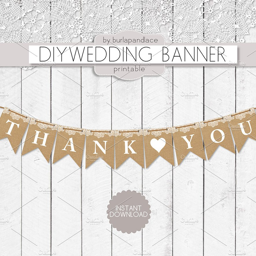 Thank You Burlap Lace Digital Banner Illustrations Creative Market