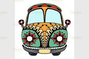 Hippie vintage car a mini van