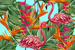 Pink flamingos seamless pattern
