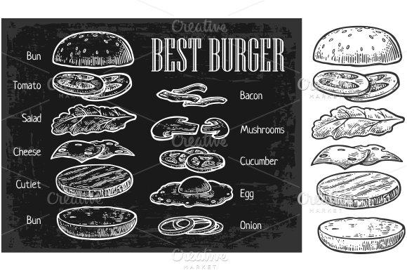 Burger ingredients chalkboard, white