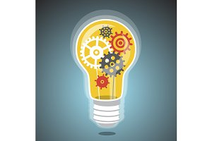 Idea light bulb with cogs