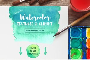 Watercolor Textures & Clipart