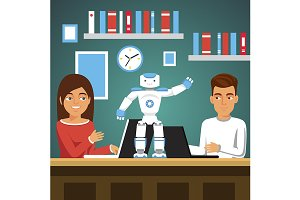 Students programming robot