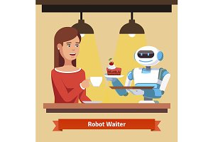 Robot waiter serving coffee