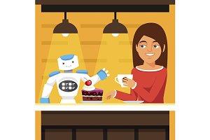 Robot waiter serving coffee