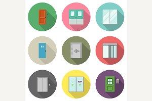 Door flat icons
